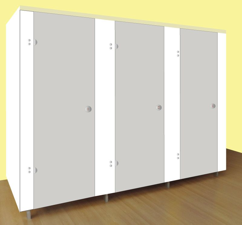 Washrooms Toilet Cubicle White Panels and Light Grey Doors