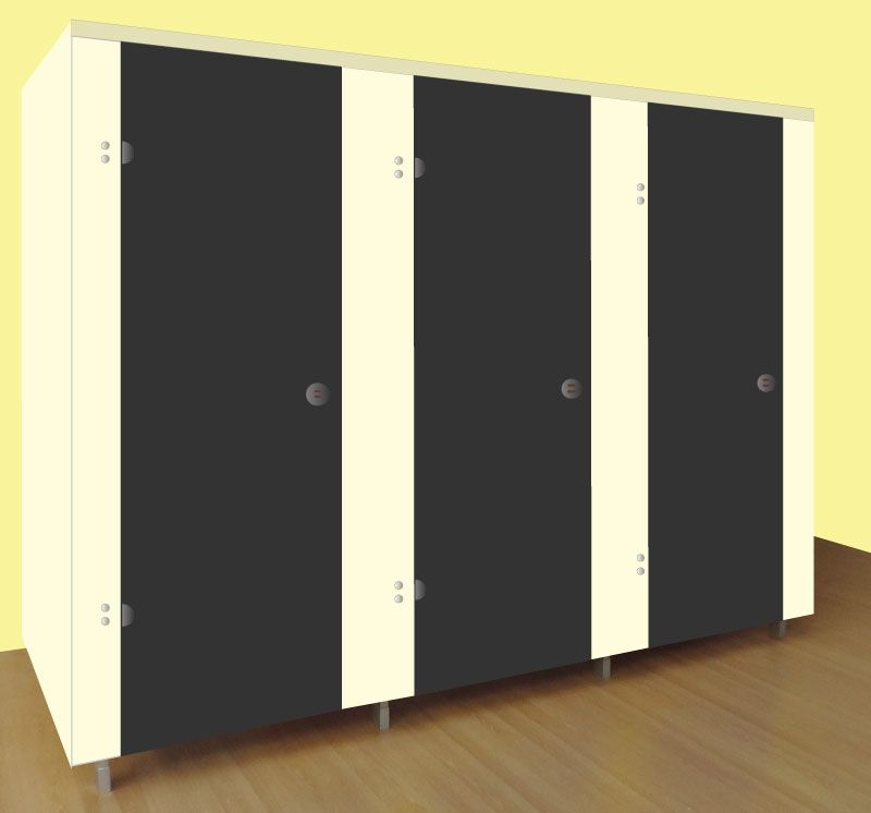 Washroom Cubicles Cream with Black Doors