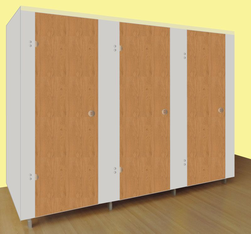 Washrooms Toilet Cubicle Grey Panels and Wood Grain Effect Doors
