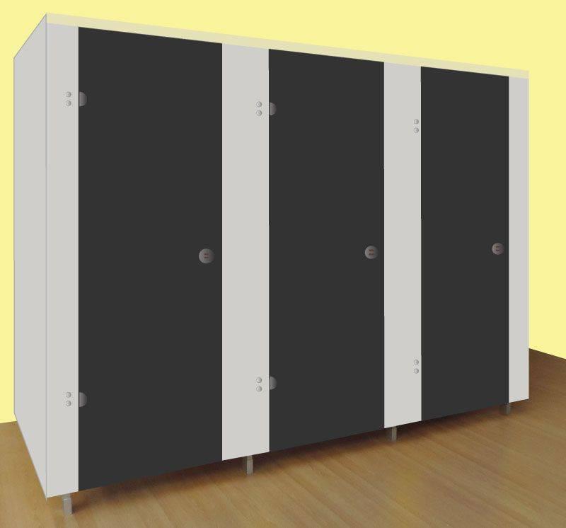 Washrooms Toilet Cubicle Grey Panels and Black Doors