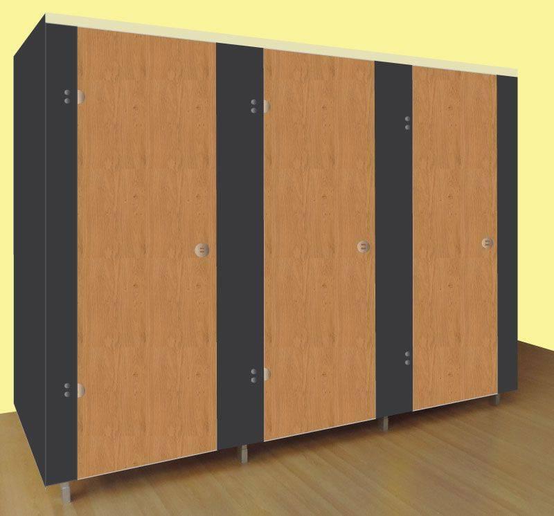 Washrooms Toilet Cubicle Black Panels and Wood Grain Effect Doors