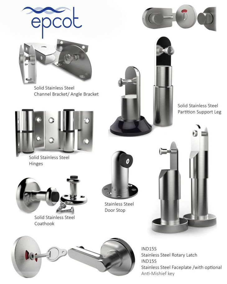 Stainless steel Toilet cubicle hinges and supports
