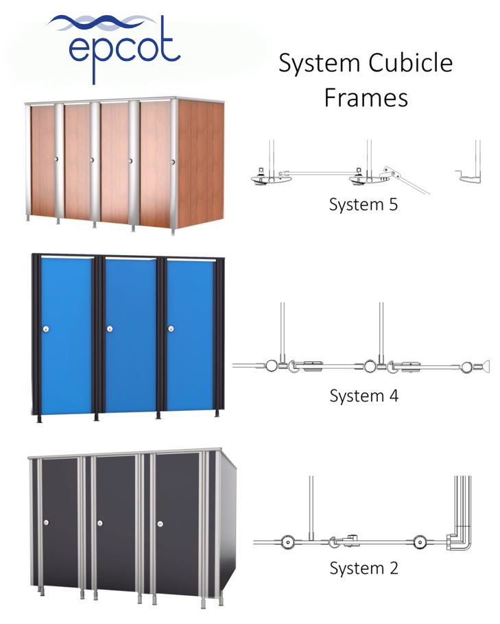 Toilet cubicle system frames