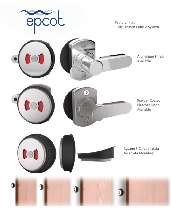 Cubicle door locks and latches